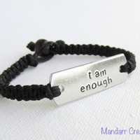 I Am Enough, Black Hemp Bracelet featuring Hand Stamped Aluminum Tag, Gifts for Her, Recovery Jewelry