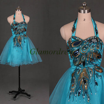 Blue tulle homecoming dresses with rhinestone,short embroidered peacock feather gowns for prom,latest cheap holiday party dress.
