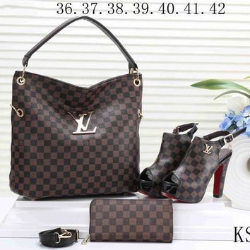 DCCKR2 LV 2018 new women s high-quality exquisite three-piece F-KSPJ-BBDL Coffee Plaid Bags