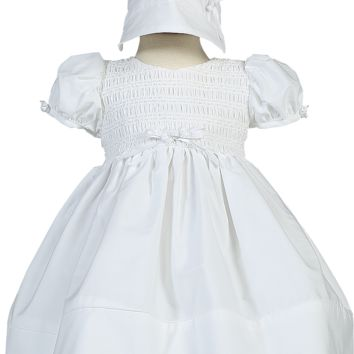 Smocked White Cotton Christening Dress with Satin Ribbon & Rosebud Trim - Baby Girls Newborn - 18 months
