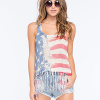 FULL TILT Americana Fringe Womens Sweater Tank | Graphic Tees & Tanks