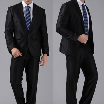 Men Suits Slim Custom Fit Tuxedo Brand Fashion Bridegroon Business Dress Wedding Suits Blazer #998878