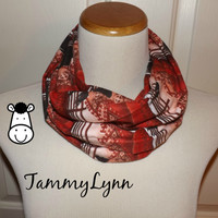 Girls Orange Red Southwestern Horse FLANNEL Cotton Infinity Scarf Cowgirl Soft Girl's Accessories