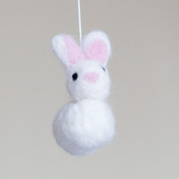 Bunny Baby Mobile - Bunny Nursery Mobile -Bunny Crib Mobile - Bunny Nursery Decor- Bunny Baby Room Decor -Needle Felted Bunny Mobile