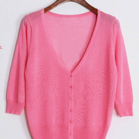 Rose Red Knitted Cardigan