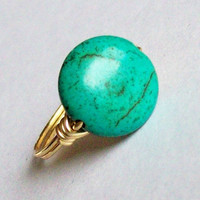 Turquoise Colored Magnesite Ring Custom Sizes Wire by MsRose
