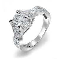 Bling Jewelry Sterling Silver Vintage Style CZ Infinity Round Engagement Ring