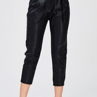 High Waisted Ankle Fit Leather Pants
