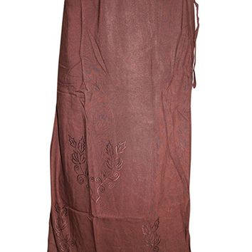 Women Boho Wrap Around Rust Embroidered Long Skirts