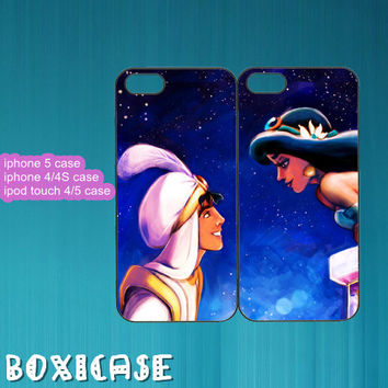 Aladdin and Princess Jasmine---iphone 4 case,iphone 5 case,ipod touch 4 case,ipod touch 5 case,in plastic,silicone and black,white.