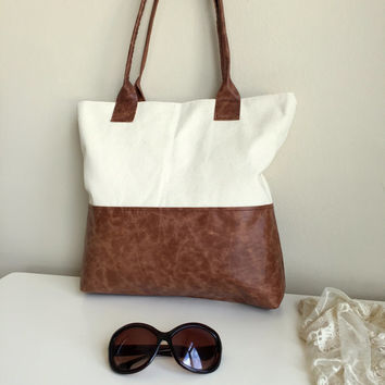 Brown Leather and Beige Canvas Bag,Leather and Canvas Bag,Beige Canvas Bag,Canvas Tote Bag,Leather Handbag,Brown Tote Bag,Brown Leather Bag
