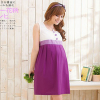 INFOF Summer Maternity dresses casual pregnancy clothes cotton maternity clothing shoulderless pregnant dress
