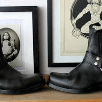 DOCKERS handmade  Studded black leather vintage western rocker boots motor bike motorbike 7 boho bohemian rocker booties free people