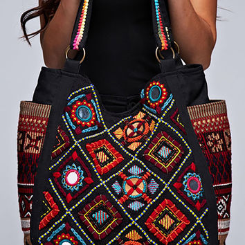 Diamond Patterned Tapestry Tote - Tapestry Bag - Patterned Bag - Travel Tote - Travel Bag