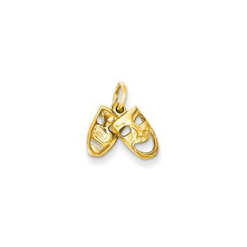 14k Yellow Gold Small Comedy and Tragedy Mask Charm