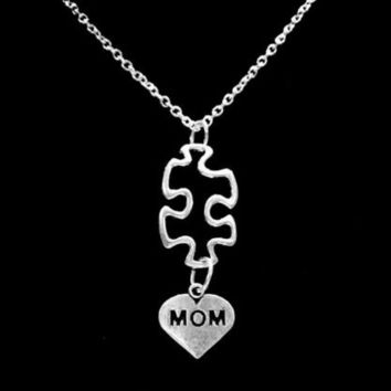 Hollow Autism Awareness Puzzle Piece Mom Special Needs Mothers Charm Necklace