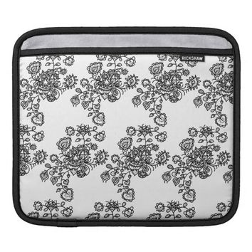 Monochrome Girly Lace Pattern Sleeves For iPads