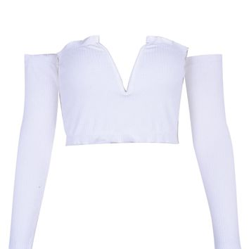 White Off Shoulder Sweetheart Long Sleeve Ribbed Crop Top