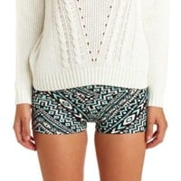 High-Waisted Tribal Print Bike Shorts - Black Combo