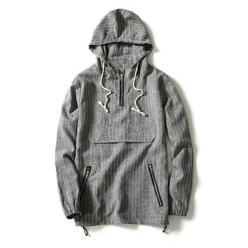 Men's Casual Striped Gray Outerwear Windbreaker Jacket