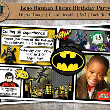 Custom Comic Book Lego Batman Birthday Party Invitations 5x7 Digital Image Graphic Design Pary Invites Batman Theme Photograph