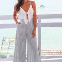 Sage Striped Pant Jumpsuit