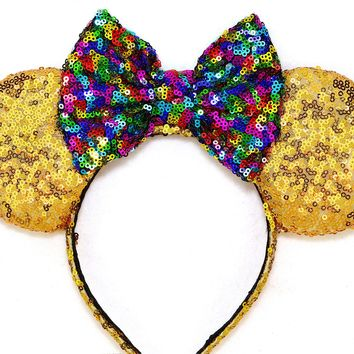 Gold Sequin Ears and Rainbow Bow