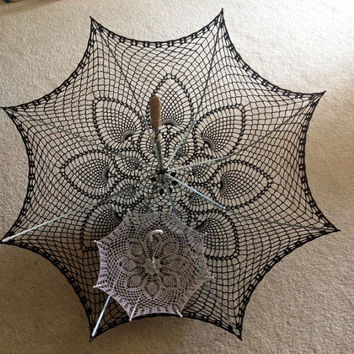 "60"" Wedding Black Lace Crochet  UMBRELLA PARASOL- Made to order"