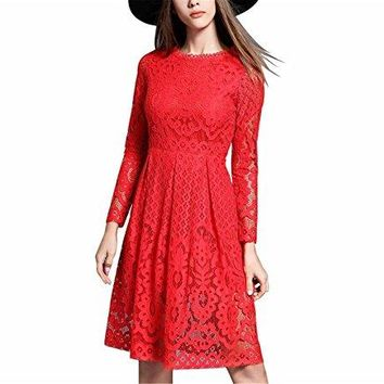 Chongfeng Comfortable New Spring Fashion Women Lace Dress Runway Style Long Sleeve Slim Hollow Out Vintage Party Dresses Vestidos