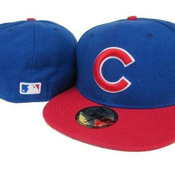 ESB8KY Chicago Cubs New Era 59FIFTY MLB Hat Blue-Red