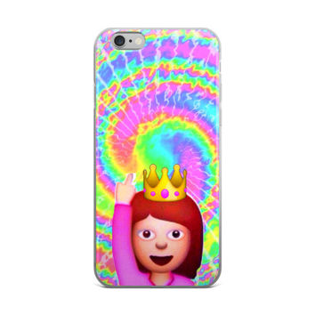 Middle Finger Girl Princess Emoji Hippy Tie Dye Bleach Yellow Green Purple Sky Blue & Pink iPhone 4 4s 5 5s 5C 6 6s 6 Plus 6s Plus 7 & 7 Plus Case
