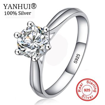 Big Promotion! 100% Original 925 Silver Wedding Rings For Women Natural Solitaire 6mm CZ Diamant Engagement Rings Jewelry RJ003