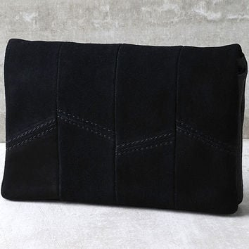 Show Me the Way Black Suede Leather Clutch