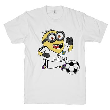 Minion Soccer on a White T Shirt