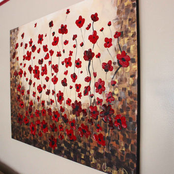 Large Wall Art, Huge Canvas Art, Red Poppy Painting