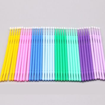 100pcs/bag Disposable Makeup Cotton Swabs Eyelash Extension Mini Individual Applicators Home Mascara Brush Cotton Soft Swab A055