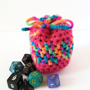 Dice Bag, Small Crochet Bag, Crochet Dice Bag, Rainbow Coin Purse, Yarn Bag, Pink Drawstring Purse, Small Dice Bag, Bag of Holding
