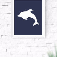 Navy Blue Whale Printable, Sea Wall Art, Nautical Wall Art, Beach House Decor, Nursery Wall Art, Gallery Prints, 8x10, 24x30 Inches