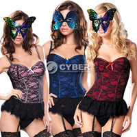 DZ88 Women's Lace Overlay Lingerie Padded Bra Boned Corset Bustier with G-string