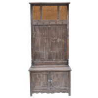Crestview Collection Rustic 2 Door Ant Mirror Hall Tree
