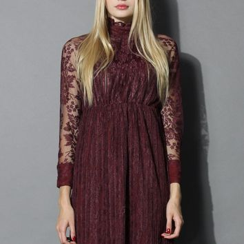 Retro Elegance Lace Dress in Burgundy
