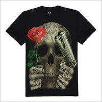 New 2014 Skull series men's personality short sleeve o neck t shirt rock 3d male tshirt guns n roses what do you want  NS025