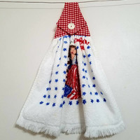 Hand Towel Terry Kitchen Vintage Bicentennial 1776 1976 Spirit of 76 Betsy Ross American Flag