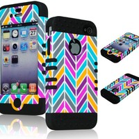 Bastex 2in1 Hybrid Rocker Case for Apple iPhone 4, 4s - Black Silicone with Pink, Gray, Blue, & Orange Neon Colors - Chevron Style Hard Shell