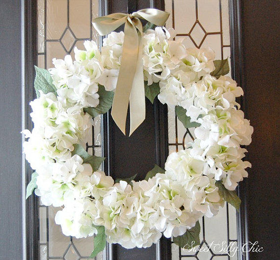 Wedding Wreaths For Front Door: Winter White Hydrangea Wreath, Winter From SweetSillyChic
