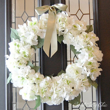 Winter White Hydrangea Wreath, Winter Spring Front Door Wreath, White Silk Flower Wreath, Handmade Wreath, Wedding Wreath