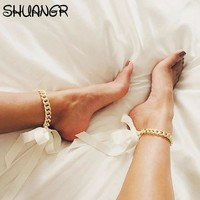 SHUANGR Fashion Foot Jewelry Ankle Bracelet For Women Yellow Gold Color Cuban Link Chain Ribbon Anklet Bracelet Barefoot Sandals
