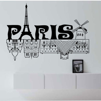 Paris Skyline Eiffel  tower Vinyl Wall Decal Sticker Art Decor Bedroom Design Mural City modern