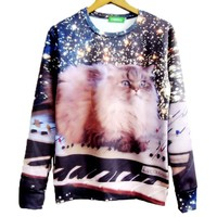 Kitty Cat On KeyBoard in Space Graphic Print Crew Neck Sweatshirt Sweater | Gifts for Cat Lovers