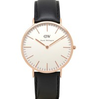 Daniel Wellington Sheffield Rose Gold Leather Strap Watch - Gold at The Idle Man